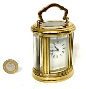 French Oval Miniature Brass Carriage Clock With Key Working Order