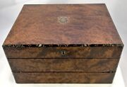 Antique Birds Eye Maple And Mother Of Pearl Fitted Writing Box Slope Circa 1880