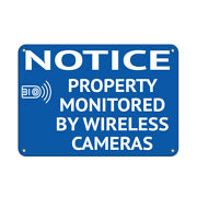 Horizontal Metal Sign Multiple Sizes Notice Property Monitored Wireless Cameras