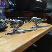 2 Used Vintage Chrome Ford Mustang Hood Ornaments