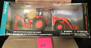Kubota L6060 Toy Tractor W/ Backhoe Loader 118 Scale Model New Free Shipping
