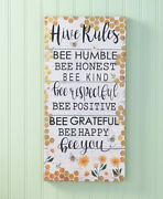 Farmhouse Bee Home Decor Collection Hive Rules Wall Hanging Sign