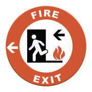 Fire Exit Floor Decals Red Black Anti-slip Round Shape Signs Stickers