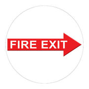 Fire Exit Floor Decals Red Anti-slip Round Shape C Signs Stickers
