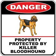 Crossing Sign Danger Property Protected Killer Bloodhound Dog Cross Xing Metal
