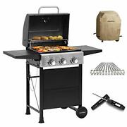 Bbq Propane Gas Grill 3 Bunner With Folding Table Skewers Flat Kabob Stainless