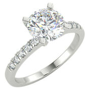 1.31 Ct Round Cut Vs1/e Solitaire Pave Diamond Engagement Ring 14k White Gold