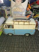 Vintage Vw Decorative Bus Van Tin With Surfboards Toy Home Decor Blue 1971