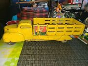 Marx Cocacola Pressed Steel Stake Truck - Yellow 20 Inches As Seen