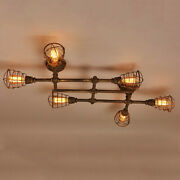 Vintage Industrial Pipe Chandelier Light Rustic Wire Cage Steampunk Ceiling Lamp