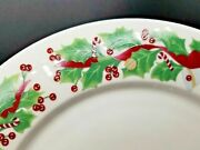 Set Of Eight Sango Noel 8415 10.5 Dinner Plates Christmas Holly Excellent