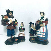 Lot Of 2 Pilgrims Mother Son Father Daughter Harvest Figurines Thanksgiving