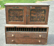 Antique 1920 Wood Hardware Store Display Sign Machinists Morse Drill Bit Cabinet