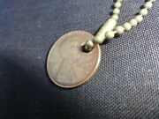 1945 Us Wheat Penny Keychain Copper No Mint Mark