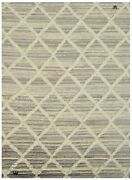 9x12 Modern Ivory High-low Hand-knotted Wool Area Rug Contemporary Carpet