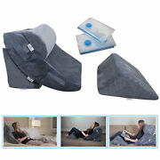4 Pc Orthopedic Bed Wedge Memory Foam Pillow Post Surgery Adjustable Head Suppor