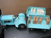 Rare Vintage 1960s Tonka Airlines Service Tractor W/ Baggage Trailers