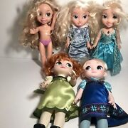 Lot Of 5 My First Disney Princess Toddler Dolls, 4 Frozen, One Tangled