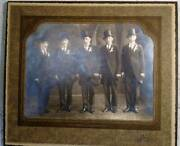 Vintage Photo Groom Party Portrait 8 X 10 High Hats Cigars And Gloves