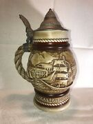 Vintage 1977 Avon Collectible Lidded Beer Stein Tall Sailing Ships Schooners