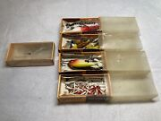 Lot Of 4 Vintage Bomber Fishing Lures + Empty Box Original Packaging Mixed
