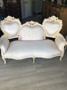 Victorian Antique One Of The Kind Settee Sofa And 2 Swivel Andnbspchairs.