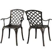 2 Pcs Aluminum Patio Chairs Outdoor Patio Bistro Dining Set For Garden Yard