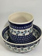 Polish Pottery Boleslawiec Medium 9andrdquo Round Ribbed Bowl And 5andrdquoutensil Container