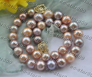 Z11187 A++ 18 14mm Round Natural Pink Lavender Edison Keshi Pearl Necklace Cz C