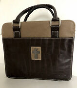 Bible Carrier Cover Mchristian Art Gifts Brown And Dark Brown 9x10.5