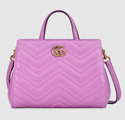 Nwt Gg Marmont Matelasse Top Handle Tote Bag Purse 2 Way 448054 Small New