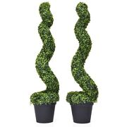 2pc 4ft Artificial Boxwood Spiral Tree Office Patio In/outdoor Area Decoration