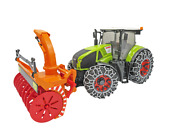 03017 Bruder Claas Axion 950 Tractor With Snow Chains And Snowblower Green Toy
