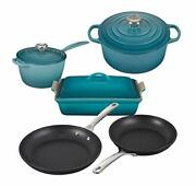 Le Creuset 8 Piece Multi-purpose Enameled Cast Iron With Ss Knobs Stoneware