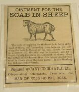 3 Antique C1860 Labels Sheep Scab Ointment Ross-on-wye Uk Farmer Veterinarian