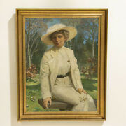 Large Original Oil On Canvas Portrait Of Lady Sitting On Park Bench Signed By C