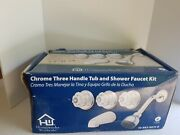 Chrome Three Handle Tub And Shower Faucet Kit