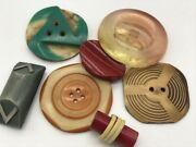 Lot Of Carved Buffed Celluloid Bakelite Coat Buttons 3d Geometric Rectangle Red