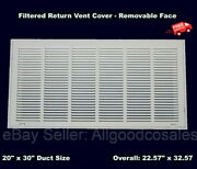 Filtered Air Return Vent Cover 20 X 30 Duct Size White Grille Wall Ceiling