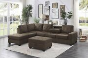 Brown Reversible Chaise Sofa Sectional And Drop Down Table Living Room Furniture