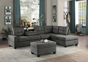 Dk Gray Reversible Chaise Sofa Sectional And Drop Down Table Living Room Furniture