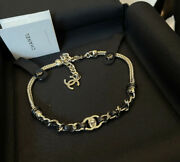 21s Gold And Leather Chain Turn Lock Choker 100 Authentic Nwt