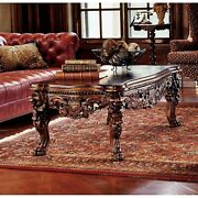 Elegantandnbsphand-carved Medieval Mahogany Coffee Table With Lion Legs