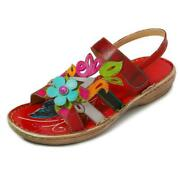 New Women Hand Painted Sandals Genuine Leather Floral Splicing Bird Paste Shoe F