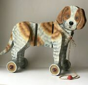 Rare Vintage Kathe Wohlfahrt Wooden Hand Painted Puppy Dog Pull Toy Numbered