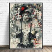Funny Smoking Monkey Canvas Art Posters Prints Animal Wall Pictures Room Decor