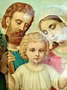 Antique Religious Procession Banner Holy Family Jesus Christ Hand Oil Painting