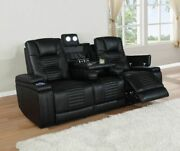 Black Leatherette Power Reclining Sofa Lighted Drop Down Table Wireless Charger