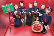 Byers Choice Salvation Army Carolers Lot 6 Carolers, Drum, Tripod, Music Stands
