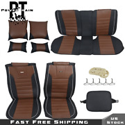 Full Set Protector Brown And Black Car Seat Cover 14pc Interior Waterproof 5-seats